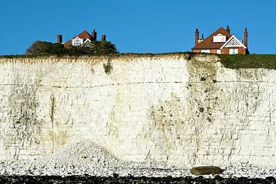 Chalk Cliffs And Houses Poster
