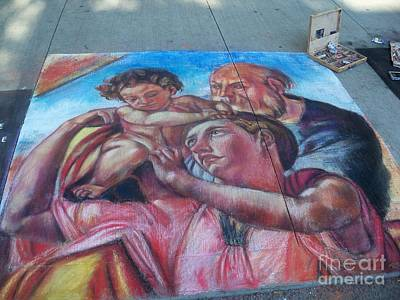 Chalk Painting By Street Artist Poster