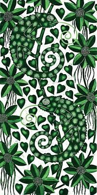 Chameleons Tall, 2013 Woodcut Poster by Nat Morley
