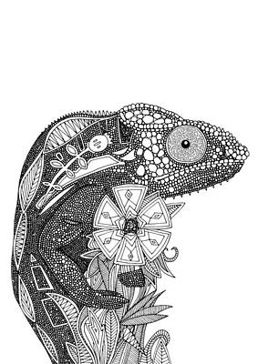 Chameloeon Black White Poster