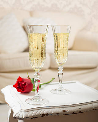 Champagne And Rose Poster by Amanda Elwell
