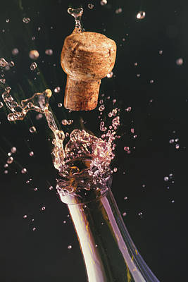Champagne Bottle And Cork Poster by Ktsdesign