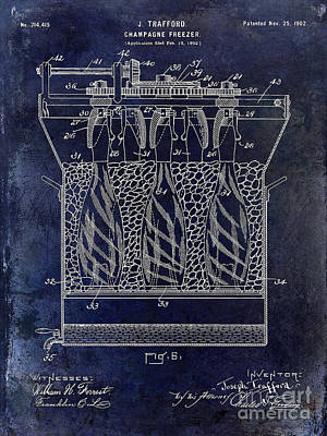 Champagne Bottle Freezer Patent 1902 Blue Poster by Jon Neidert