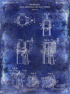 Champagne  Cork Extractor And Wire Cutter Patent Drawing Blue Poster by Jon Neidert