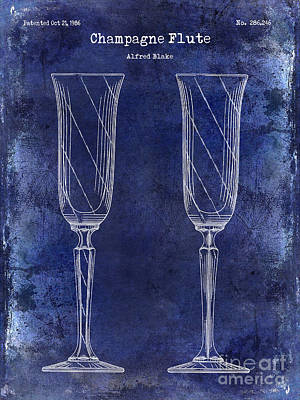Champagne Flute Patent Drawing Blue Poster