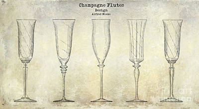 Champagne Flutes Design Patent Drawing Poster