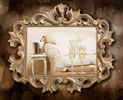 Champagne Frame Poster by Amanda Elwell