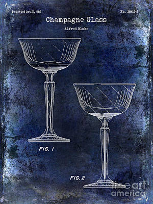 Champagne Glass Patent Drawing Blue Poster