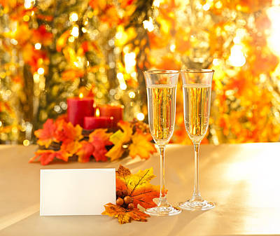 Champagne Glasses For Reception In Front Of Autumn Background Poster by Ulrich Schade