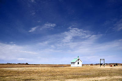 Chapel And Cemetary On Prairie Poster by Donald  Erickson