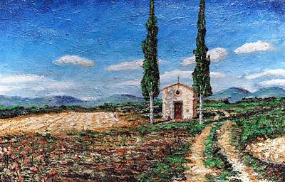 Chapel And Two Trees, Tuscany, 2005 Oil On Board Poster by Trevor Neal
