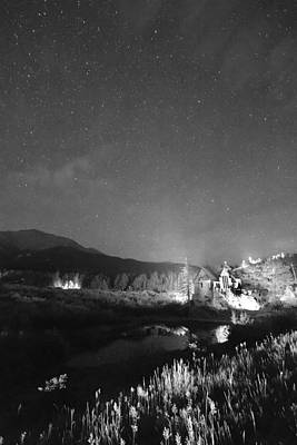 Chapel On The Rock Stary Night Portrait Bw Poster