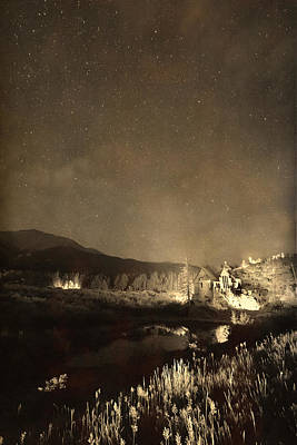 Chapel On The Rock Stary Night Portrait Monotone Poster