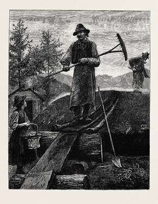 Charcoal Burners In The Alps Poster by English School