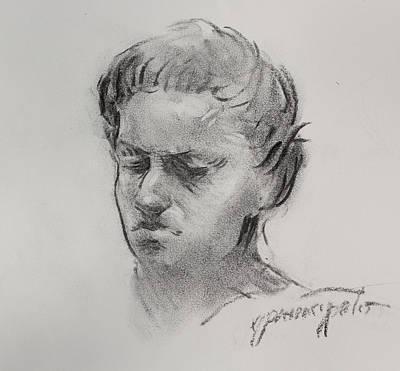 Charcoal Portrait Sketch Poster by Ernest Principato
