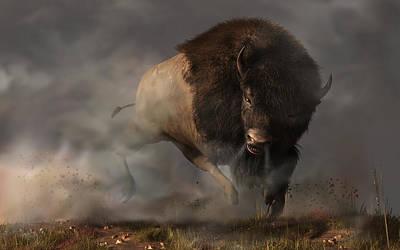 Charging Bison Poster by Daniel Eskridge