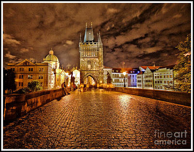 Charles Bridge At Night Poster by Madeline Ellis