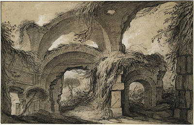 Charles Michel-ange Challe, Arches Of The Larger Baths Poster by Quint Lox
