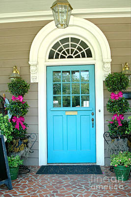 Charleston Aqua Teal French Quarter Doors - Charleston Aqua Blue Teal Garden Door Poster by Kathy Fornal