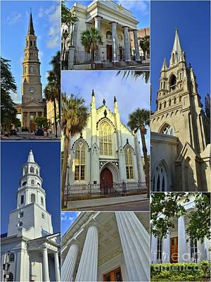 Charleston Churches Collage Poster by Allen Beatty