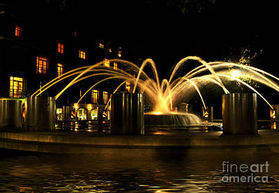 Poster featuring the photograph Charleston Fountain At Night by Kathy Baccari