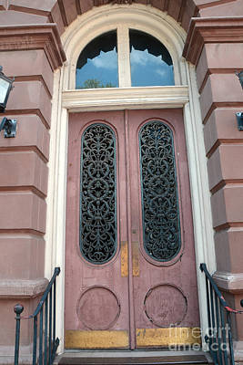 Charleston French Quarter Pink Ornate Door Architecture - Charleston French Quarter Ornate Door Poster by Kathy Fornal