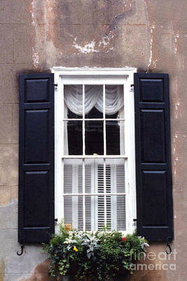 Charleston French Quarter Window Flower Box - Charleston Architecture Black And White Window Box Poster by Kathy Fornal