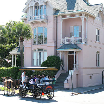 Charleston Pink House Architecture With Horse And Carriage - Charleston Victorian Pink Homes  Poster