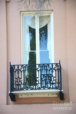 Charleston Pink White Architecture - Charleston Historical District French Quarter Window Balcony Poster
