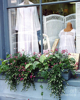 Charleston Window Boxes - Charleston Flowers Window Box And Lingerie Shop  Poster by Kathy Fornal