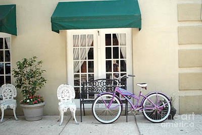 Charleston Windows And Bicycle Street Scene - Charleston French Quarter Architecture And Bicycle Poster by Kathy Fornal