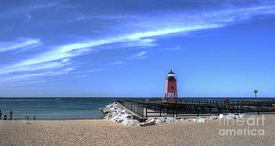 Charlevoix Lighthouse And Beach Poster by Twenty Two North Photography