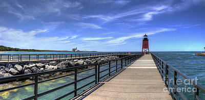 Charlevoix Pier And Lighthouse Poster by Twenty Two North Photography
