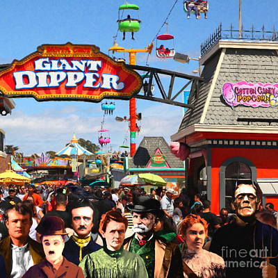 Charlie And Friends Cannot Decide Between The Giant Dipper The Sky Gliders Or The Side Shows Sq V1 Poster by Wingsdomain Art and Photography