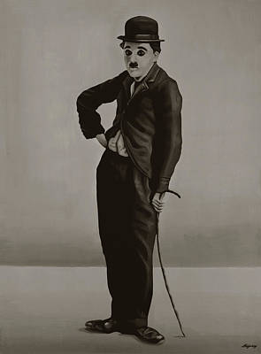 Charlie Chaplin Painting Poster