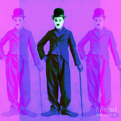 Charlie Chaplin The Tramp Three 20130216m108 Poster by Wingsdomain Art and Photography