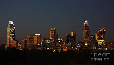 Charlotte City Skyline At Sunset Poster