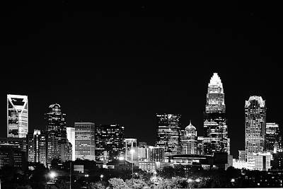 Charlotte Skyline At Night Black And White Poster by Fred Koehl