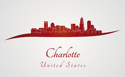Charlotte Skyline In Red Poster