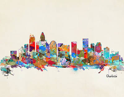 Charlotte Skyline North Carolina Poster by Bri B