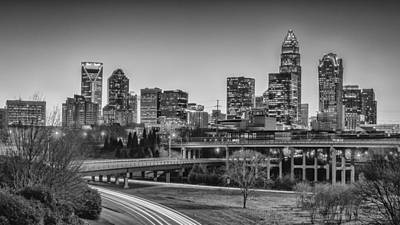 Charlotte Sunset Black And White Poster by Brian Young