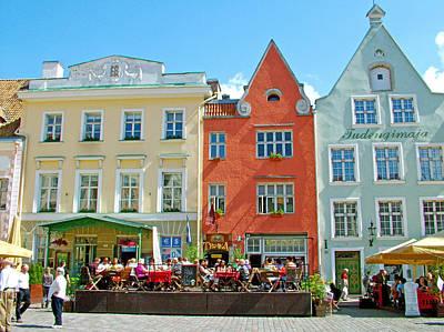Charming Town Square In Old Town Tallinn-estonia Poster