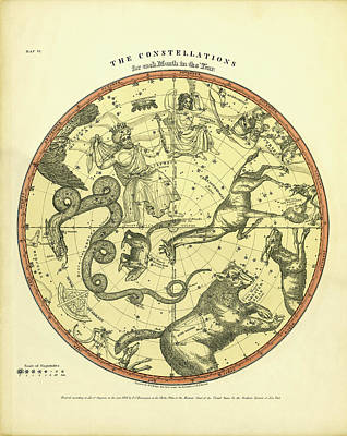 Chart Of The Constellations Poster by Underwood Archives