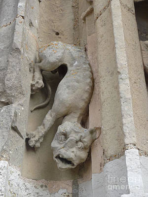 Poster featuring the photograph Chartres Cathedral Dog Gargoyle by Deborah Smolinske