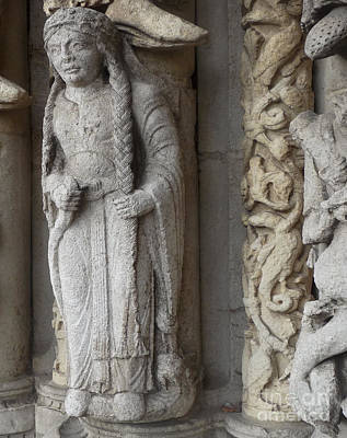 Poster featuring the photograph Chartres Cathedral Female Pilgrim by Deborah Smolinske