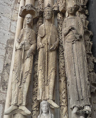 Poster featuring the photograph Chartres Cathedral Saints by Deborah Smolinske