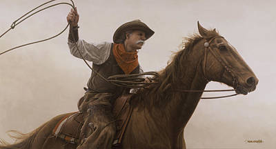 Poster featuring the painting Chasin Em Down by Ron Crabb