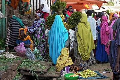Chat Being Sold At A Market Near Harar Poster by Tony Camacho