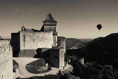 Chateau De Castelnaud With Hot Air Poster by Panoramic Images