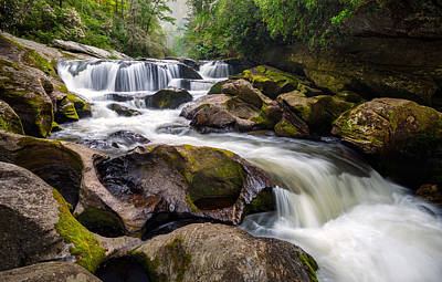 Chattooga River Potholes Waterfall Highlands Nc - The Artist's Hand Poster by Dave Allen